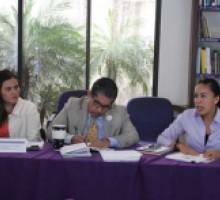 Der-izq. Coordinadora de Administración, Auxiliar de la Secretaría Ejecutiva y la Secretaria Ejecutiva del IMIPE